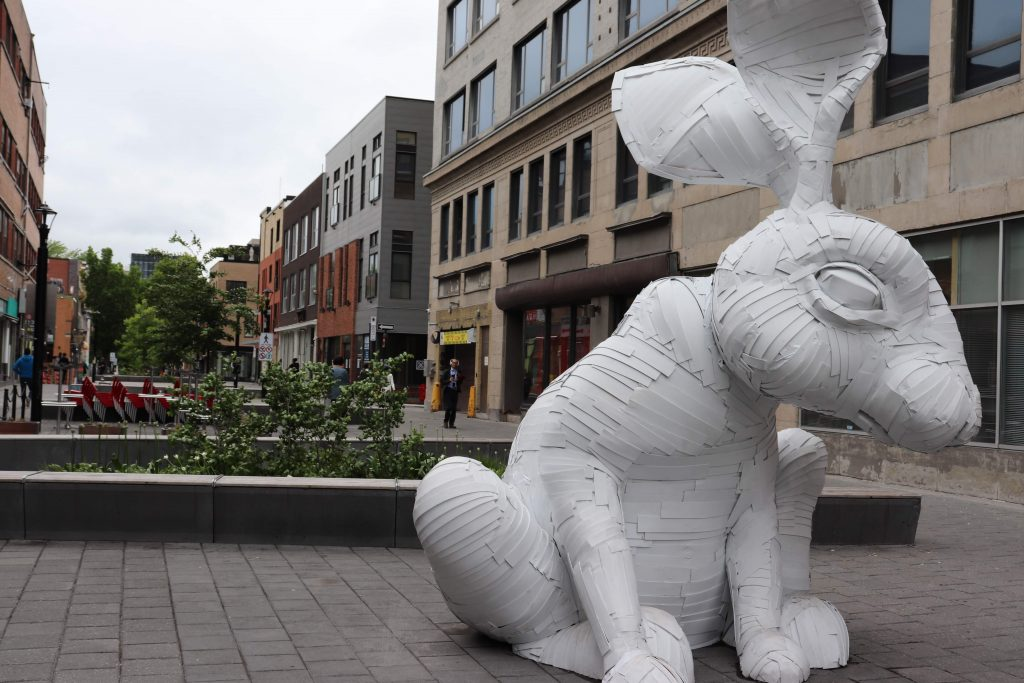 Giant rabbit made out of Corrugated plasticL
